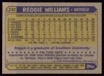 1987 Topps #232   Reggie Williams Back Thumbnail