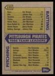 1987 Topps #131  Pirates Team  Back Thumbnail