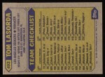 1987 Topps #493   Tom Lasorda Back Thumbnail