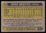 1987 Topps #442   Mitch Webster Back Thumbnail