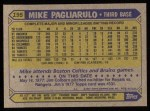 1987 Topps #195   Mike Pagliarulo Back Thumbnail