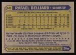 1987 Topps #541   Rafael Belliard Back Thumbnail
