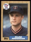1987 Topps #336   Allan Anderson Front Thumbnail