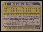 1987 Topps #75   Ron Darling Back Thumbnail