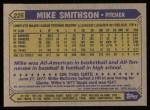 1987 Topps #225  Mike Smithson  Back Thumbnail