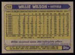 1987 Topps #783   Willie Wilson Back Thumbnail