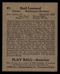 1939 Play Ball #21  Dutch Leonard  Back Thumbnail