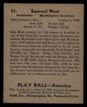 1939 Play Ball #31   Sammy West Back Thumbnail