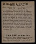 1939 Play Ball #87  Milt Shoffner  Back Thumbnail