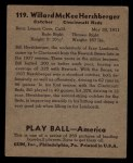 1939 Play Ball #119   Will Hershberger Back Thumbnail