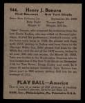 1939 Play Ball #144   Zeke Bonura Back Thumbnail