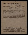 1939 Play Ball #147   George Coffman Back Thumbnail