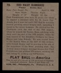 1939 Play Ball #70   Fred Frankhouse Back Thumbnail
