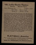 1939 Play Ball #158   Bud Thomas Back Thumbnail