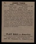 1939 Play Ball #9   Jim Tobin Back Thumbnail