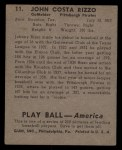 1939 Play Ball #11   Johnny Rizzo Back Thumbnail