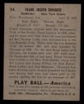 1939 Play Ball #34  Frank DeMaree  Back Thumbnail