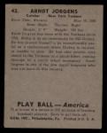1939 Play Ball #42   Arndt Jorgens Back Thumbnail