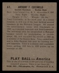 1939 Play Ball #61   Tony Cuccinello Back Thumbnail