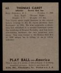 1939 Play Ball #62   Tom Carey Back Thumbnail