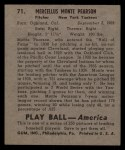 1939 Play Ball #71   Monte Pearson Back Thumbnail