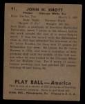 1939 Play Ball #91   Jack Knott Back Thumbnail