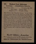 1939 Play Ball #97   Bob Johnson Back Thumbnail