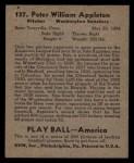 1939 Play Ball #137   Pete Appleton Back Thumbnail