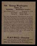 1939 Play Ball #138  George Case  Back Thumbnail