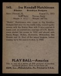 1939 Play Ball #142  Ira Hutchinson  Back Thumbnail