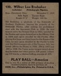 1939 Play Ball #130   Bill Brubaker Back Thumbnail