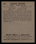 1939 Play Ball #20   Joe Heving Back Thumbnail