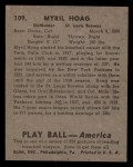 1939 Play Ball #109   Myril Hoag Back Thumbnail