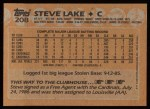 1988 Topps #208   Steve Lake Back Thumbnail
