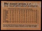 1988 Topps #412  Randy Myers  Back Thumbnail