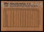 1988 Topps #250   Nolan Ryan Back Thumbnail