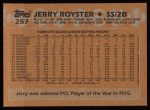 1988 Topps #257  Jerry Royster  Back Thumbnail