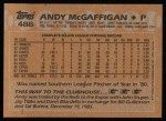 1988 Topps #488   Andy McGaffigan Back Thumbnail