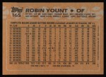 1988 Topps #165   Robin Yount Back Thumbnail