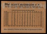 1988 Topps #419  Scott McGregor  Back Thumbnail