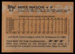 1988 Topps #87   Mike Mason Back Thumbnail