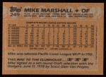 1988 Topps #249  Mike Marshall  Back Thumbnail