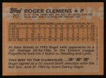 1988 Topps #70   Roger Clemens Back Thumbnail