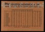 1988 Topps #304  George Hendrick  Back Thumbnail