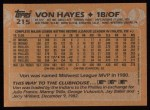 1988 Topps #215   Von Hayes Back Thumbnail