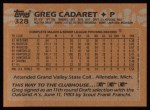1988 Topps #328  Greg Cadaret  Back Thumbnail