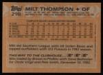 1988 Topps #298  Milt Thompson  Back Thumbnail
