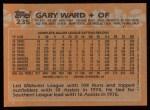 1988 Topps #235   Gary Ward Back Thumbnail