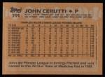1988 Topps #191  John Cerutti  Back Thumbnail
