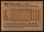 1988 Topps #318  Mel Hall  Back Thumbnail